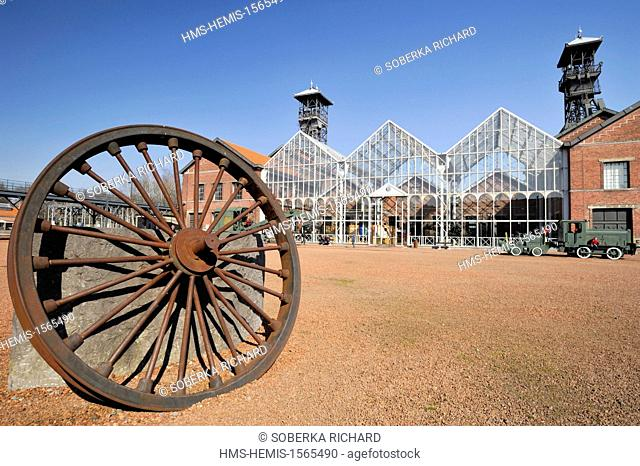 France, Nord, Lewarde, Mining History Centre listed as World Heritage by UNESCO, wheel exposed in the main courtyard in front of the glass roof of machines