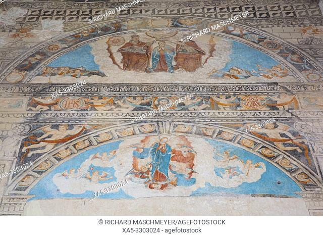 Assumption of Mary, Coronation of the Virgin (top), Frescoes, Church of Santa Clara, Dzidzantun, Yucatan, Mexico