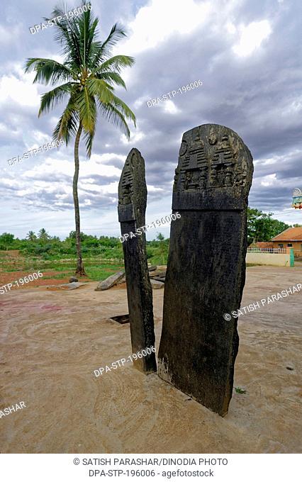 Rock inscription, basaveshwara temple, belur, haveri, karnataka, india, asia