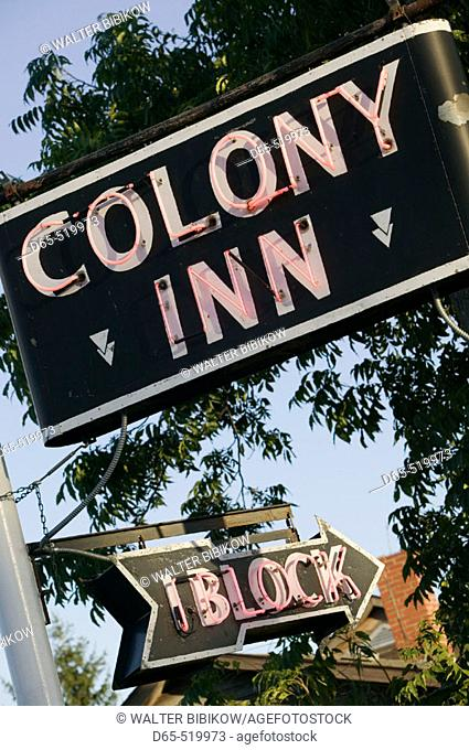 Neon Sign for Colony Inn. Amana. Amana Colonies. Iowa. USA