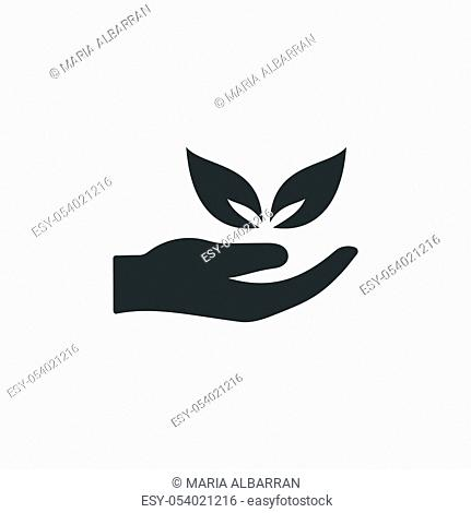 Hand and leaves. Isolated flat icon. Ecology, pharmacy and nature vector illustration