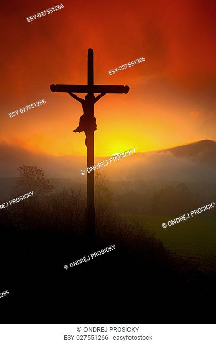 Czech landscape with cross