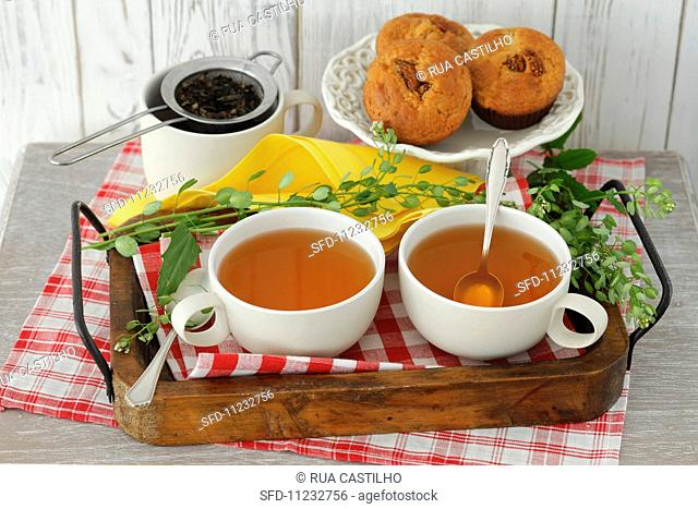 Shepherd's purse tea and muffins