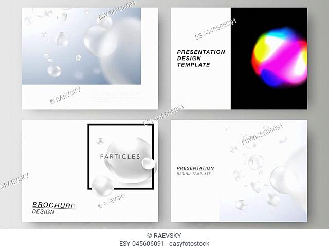 The vector layout of the presentation slides design business templates. SPA and healthcare design, sci-fi technology background