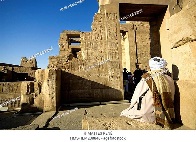 Egypt, Upper Egypt, Nile Valley, Kom Ombo Temple dedicated to Sobek, the god with a crocodile's head
