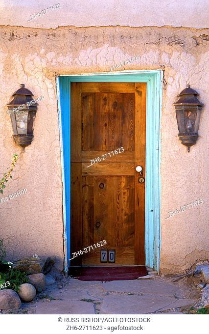 Door and porch lights, Rancho de Taos, New Mexico USA
