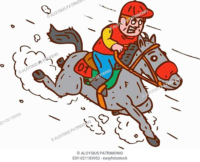 Jockey Horse Racing Cartoon