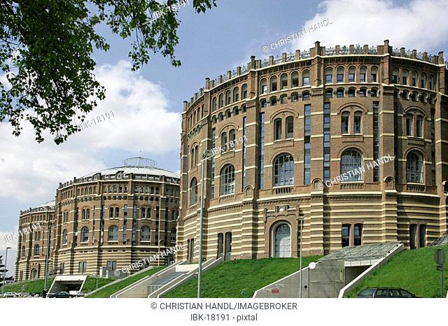Complex of residential buildings and a shopping center in the old gasometers in Vienna Austria