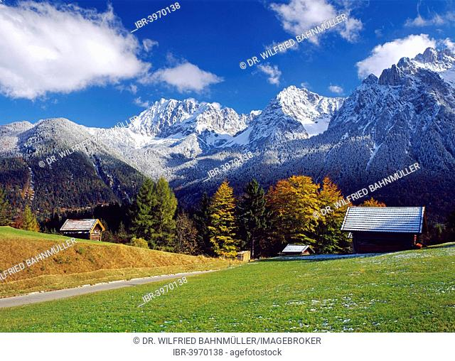 View from Kranzberg near Mittenwald to the Karwendel Range, Upper Bavaria, Bavaria, Germany