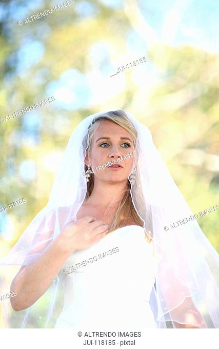 Bride Wearing Dress Outdoors On Wedding Day