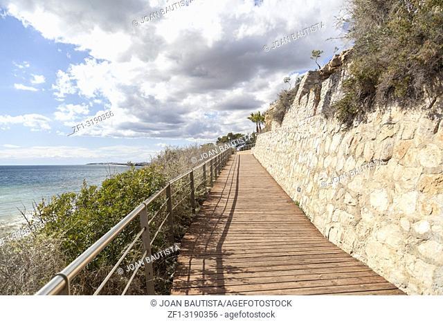 Footpath, Cami de Ronda close to Mediterranean sea in Roda de Bera, Costa Dorada, Catalonia, Spain