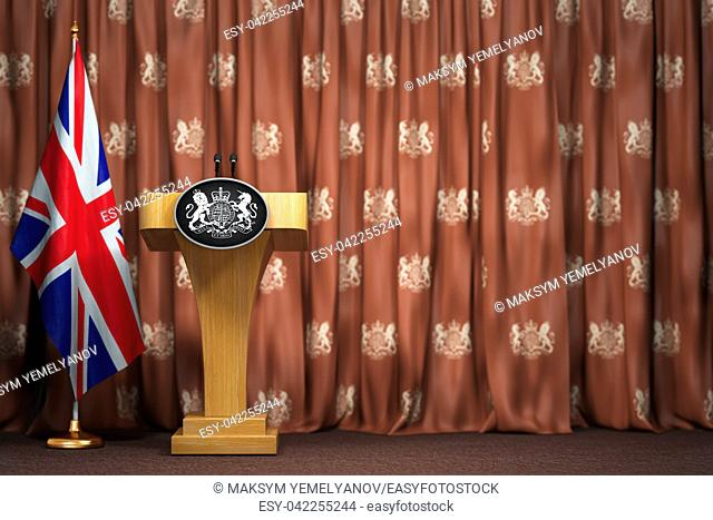 Podium speaker tribune with flags of Great Britain and UK coat of arms. Briefing or press conference of prime minister or queen of UK Great Britain