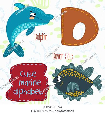 Sea very cute Alphabet.Alphabet design in a colorful style