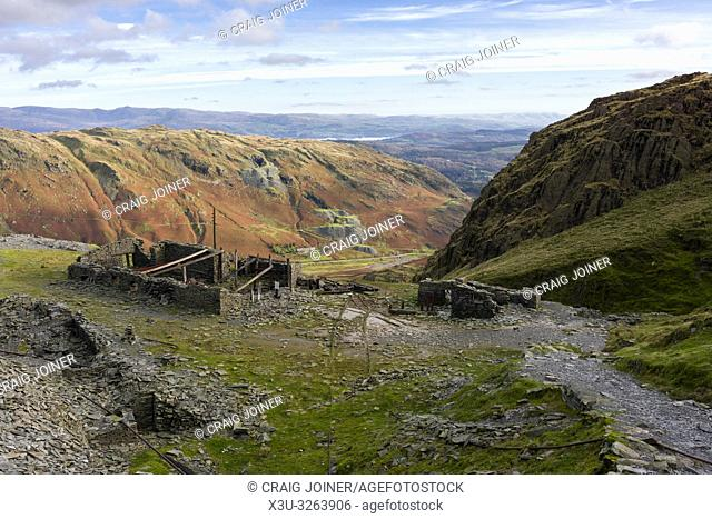 Saddlestone Quarry on the flank of The Old Man of Coniston with the Coppermines Valley beyond in the Lake District National Park, Cumbria, England