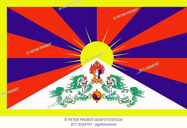 Flag of Tibet and the government in exile with seat in India