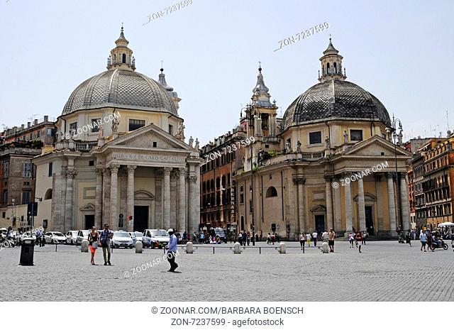 Maria di Monte Santo, Santa Maria dei Miracoli, church, Piazza del Popolo, square, Rome, Italy, Europe, Maria di Monte Santo, Santa Maria dei Miracoli, Kirche