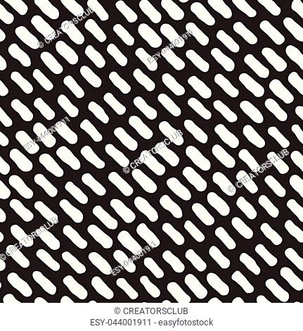 Vector Seamless Black and White Hand Drawn Diagonal Rounded Strokes Pattern. Abstract Freehand Background Design. Abstract Freehand Background Design