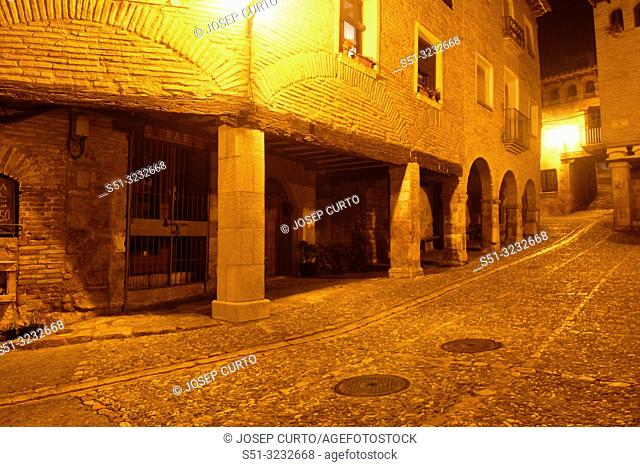night in the square of medieval village of Alquezar, Somontano, Huesca province, Aragon,Spain