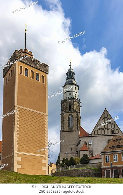 The Roter Turm (Red Tower) and Protestant Church St. Marien, Kamenz, Saxony, Germany