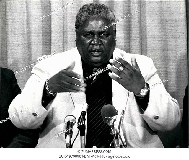 Sep. 09, 1979 - Joshua Nkomo arrives for the Constitutional Conference on Rhodesia: Photo shows Mr. Joshua Nkomo speaking at a Press Conference