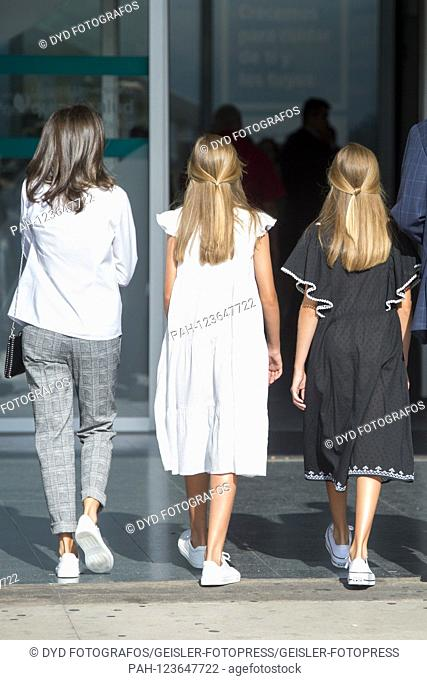 Queen Letizia of Spain, Princess Sofia of Spain and Princess Leonor of Spain visit Juan Carlos after his heart surgery at Hospital Universitario Quirónsalud...