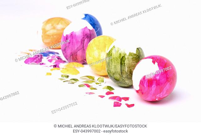 Painted eggs, easter - Isolated on a white background