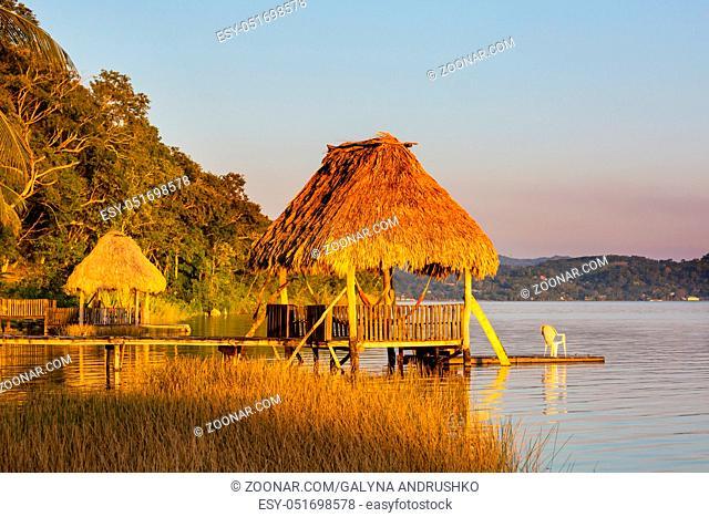 Sunset scene at the lake Peten Itza, Guatemala. Central America