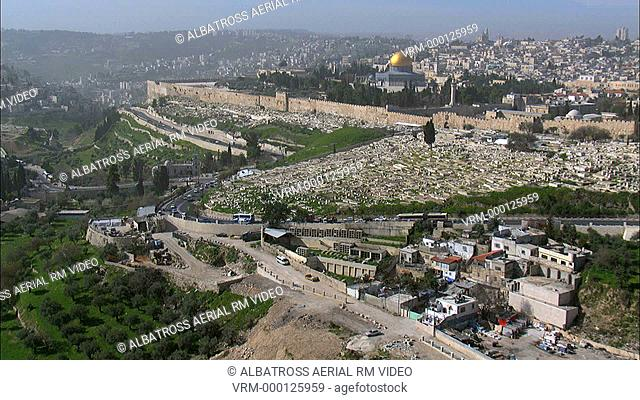 Aerial HD shot of The Temple Mount in Jerusalem