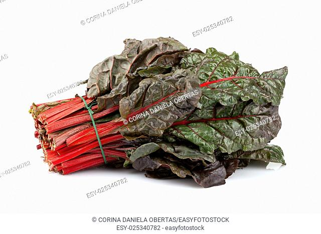 Bunch of fresh cut red chard isolated on white background