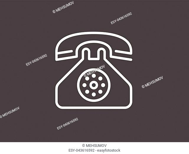 desk phone icon. Media signs for mobile concept and web apps. Thin line icon for website design and development, app development