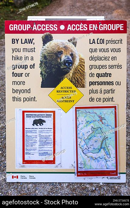 Grizzly bear warning sign on the Larch Valley Trail, Banff National Park, Alberta, Canada