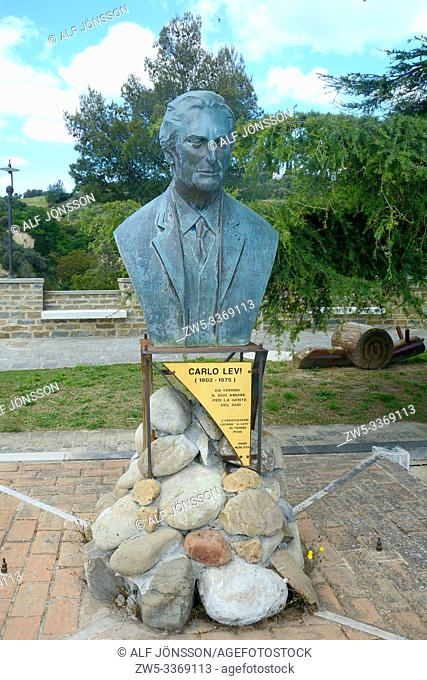 Carlo Levi, an Italian-Jewish painter, writer, activist, anti-fascist and doctor, statue in Aliani, Basilicata, Italy, South Europe