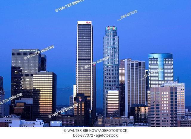 Aerial view of downtown from West 11th Street at dusk, Los Angeles, California, USA