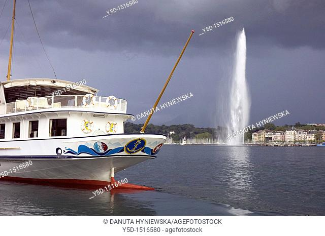 Geneva landscape with symbolic fountain Jet d'Eau on Geneva Lake