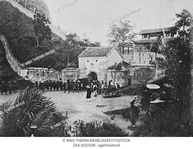 Inauguration of the railway constructed by the France between Hanoi and China in 1900, Picture from the French weekly newspaper l'Illustration