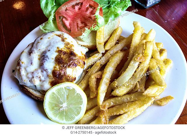 Florida, St. Saint Augustine, O. C. White's Seafood & Spirits, restaurant, seafood, inside, fish sandwich, French fries