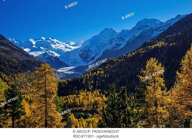 Piz Palue, 3905 m, Piz Bernina, 4049 m, Piz Morteratsch, 3751, Morteratsch-Gletscher, Oberengadin, Graubuenden, Schweiz