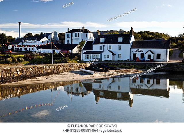 View of coastal village, Jura Distillery, Lodge, Cooperage and Jura Stores, Craighouse, Isle of Jura, Inner Hebrides, Scotland