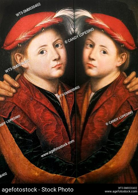 Children in Art, portrait of boy with red hat painted by Bernardino Licinio in the year 1532, on dark background reflected in a mirror