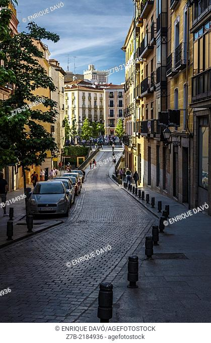 View of a central street with curve, Madrid city, Spain