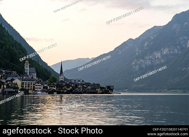 Austrian town Hallstatt by the Hallstatter See in the Upper Austria state - a part of the UNESCO World Heritage, on July 21, 2021