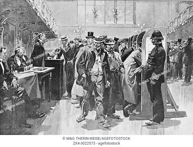 Voting hall in Westminster, Picture from the French weekly newspaper l'Illustration, 13rd October 1900