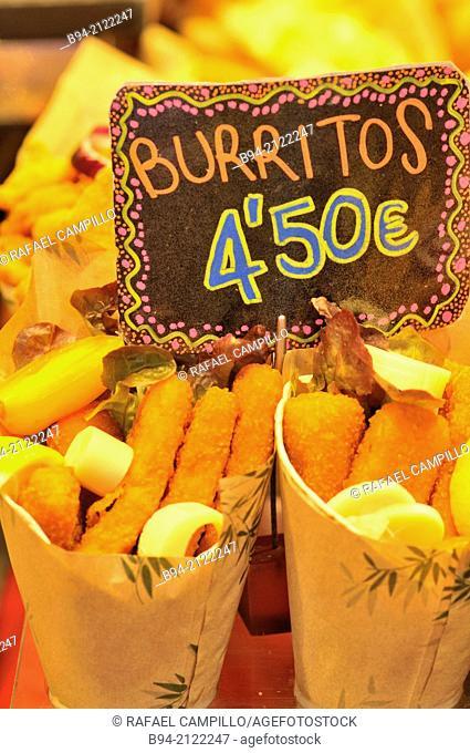 Burritos for sale. The Mercat de Sant Josep de la Boqueria, aka La Boqueria, large public market with an entrance from La Rambla, not far from the Liceu