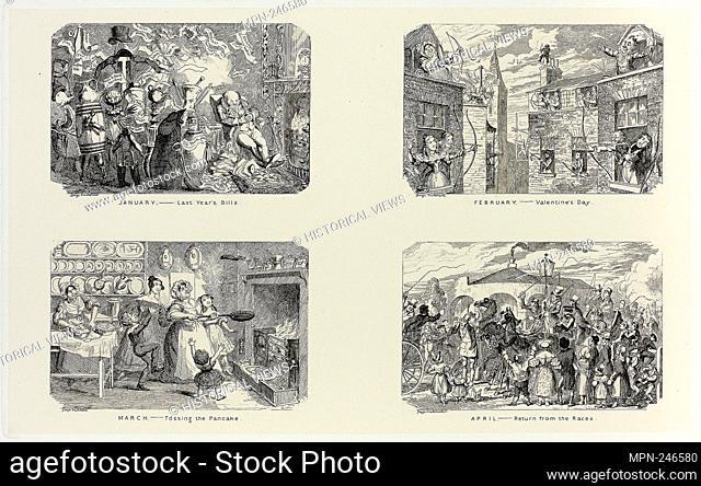 January – Last Year's Bills from George Cruikshank's Steel Etchings to The Comic Almanacks: 1835-1853 (top left) - 1837, printed c