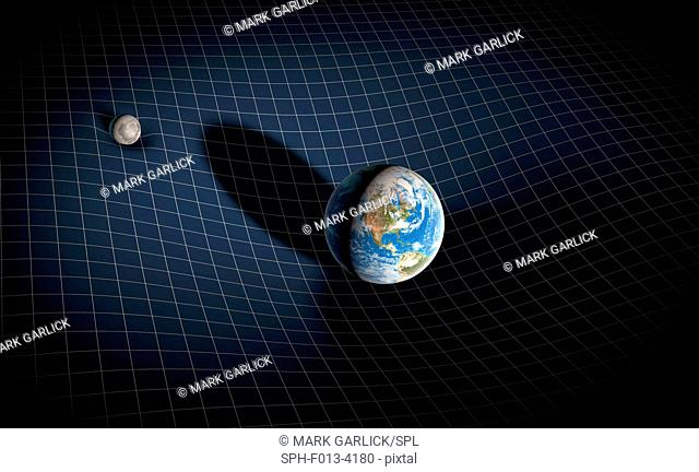 Earth and Moon and space-time. Illustration of the gravitational fields of the Earth and Moon distorting the fabric of space-time