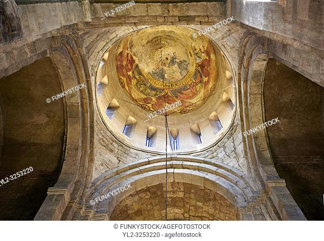 Pictures & images of the interior cupola fresco depicting Christ Pantocrator. The Eastern Orthodox Georgian Svetitskhoveli Cathedral (Cathedral of the Living...