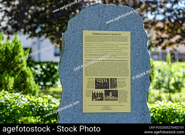 A memorial plaque remembering the story of the German family of Elisabeth Morche and her six sons, who all fought fascism in Germany