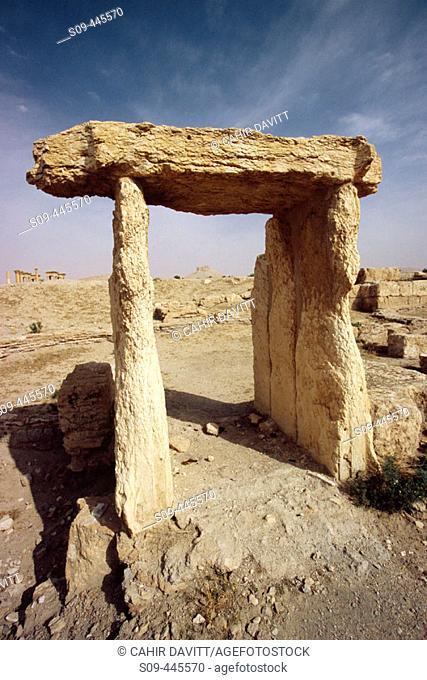 Stone portico in the ruins of Palmyra. Syria