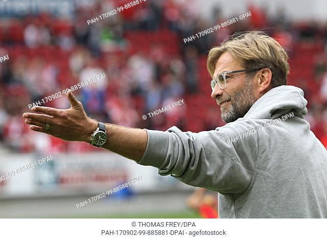 """Liverpool coach Juergen Klopp at the FSV Mainz 05 vs """"""""Nikolce and friends"""""""" football match at the Opel Arena in Mainz, Germany, 2 September 2017"""