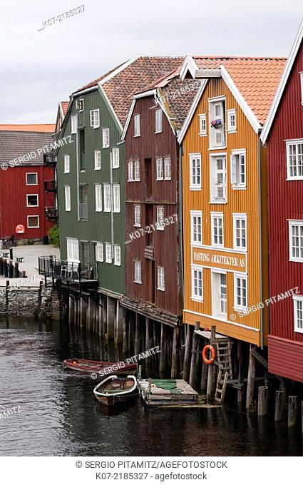 Converted Fishing Warehouses on Nidelva River, Trondheim, Norway